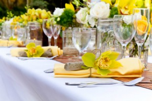 yellow flower table arrangement