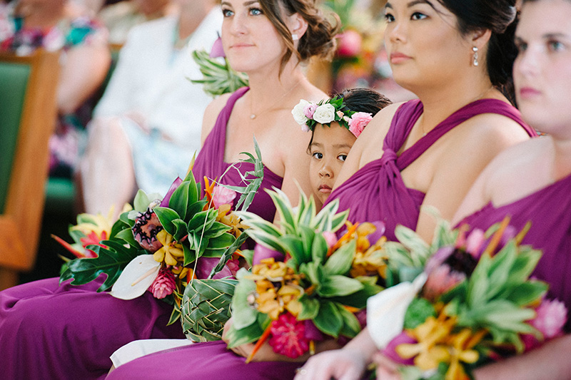Purple Reign Bridesmaids.  Paying Homage to Kauai's Color (Purple) While Holding Tropical Fauna and Flowers
