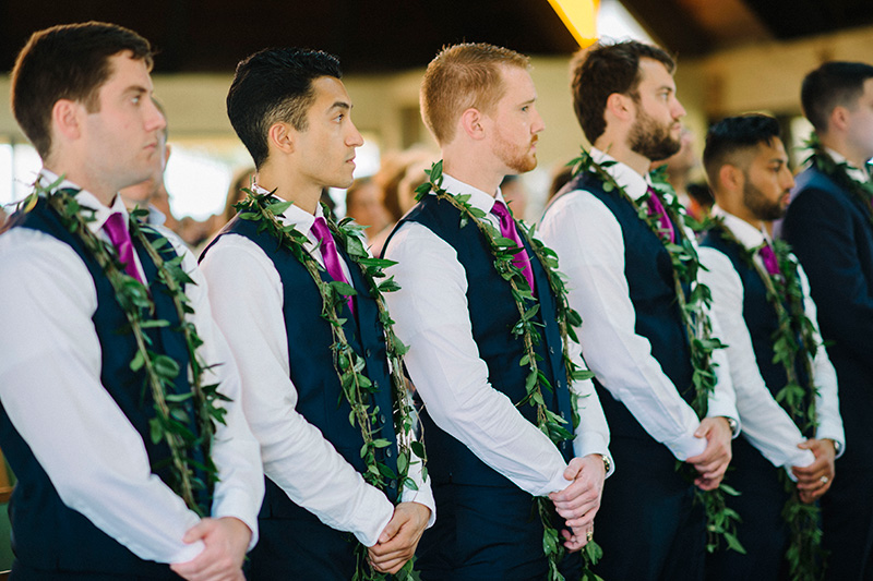 It's Tradition in Hawaii for the Groom and Groomsmen to Wear Maile Lei.  These Lei Were Harvested from Kokee, Kauai.
