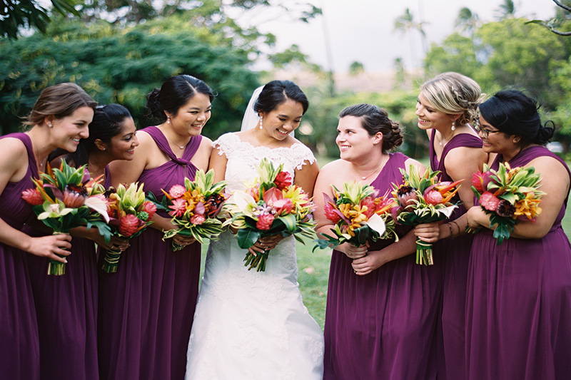 Celebrate Color!  Our Bride Jamie and Her Girls Paid Homage to Kauai's Color and Hawaii's Tropical Flowers.