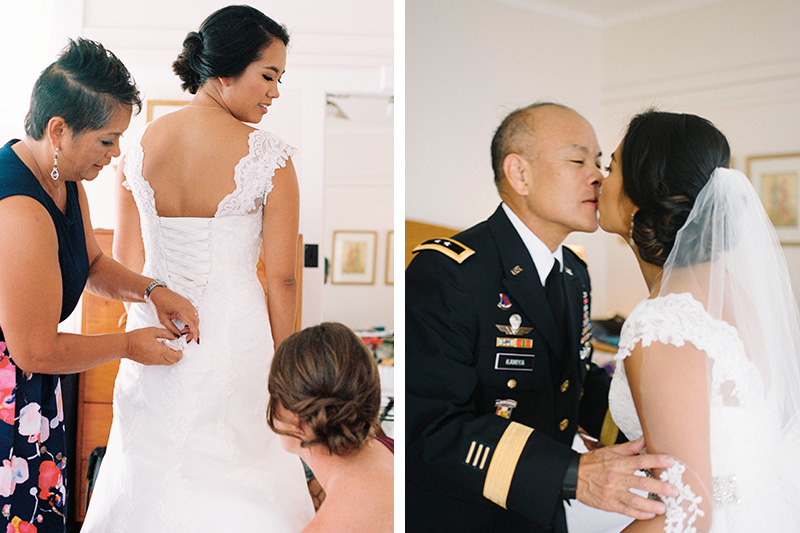Those Special Moments of The Bride and Mom Getting Dressed and the Bride Kissing Her Dad Before the Ceremony.