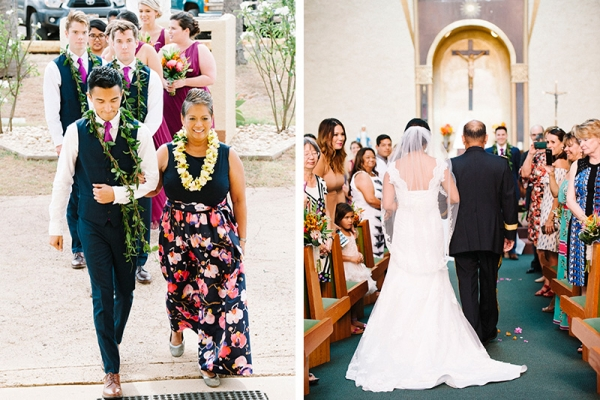 Mother of Bride Wearing Tropical Print Dress and Flower Lei, Being Escorted, as Dad and Bride Walk Toward Church Altar.