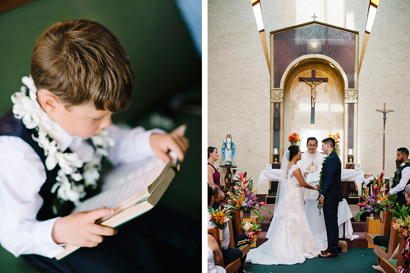 A Boy Wearing Orchid Lei Finds Interest In A Book While in Church as The Bride and Groom Gets Married in A Catholic Church