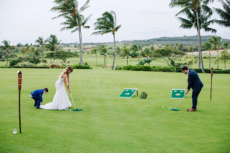 Bride and Groom Doing What They Enjoy -- Golf in a Tropical Paradise