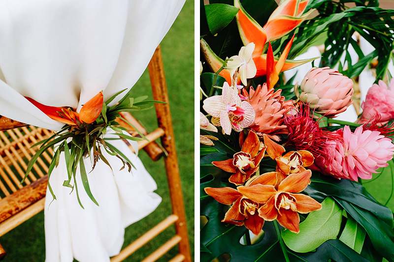 Orange, Red and Pink Tropical Flowers Grace a Wedding Aisle