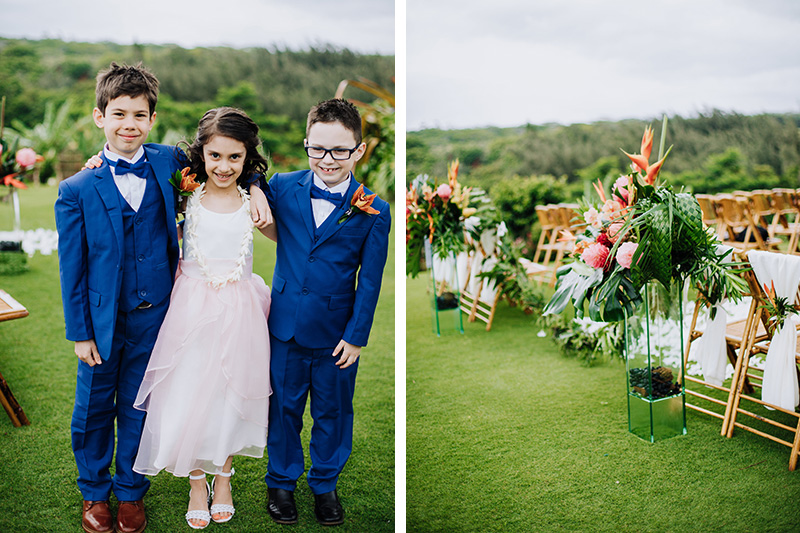 Happy Smiles From Ring Bearers and Flower Girl as They Prepare To Enter the Tropical Aisle