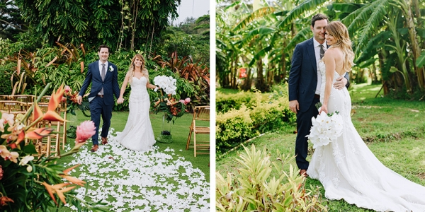 A Walk Down The Aisle, Surrounded by Tropical Monstera and Bananas