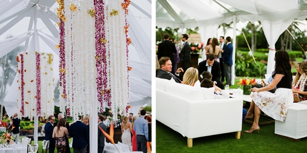 Suspend Dramatic Orchid Chandeliers From A Clear Top Tent While Guests Lounge in Clean, White, Crisp Furniture