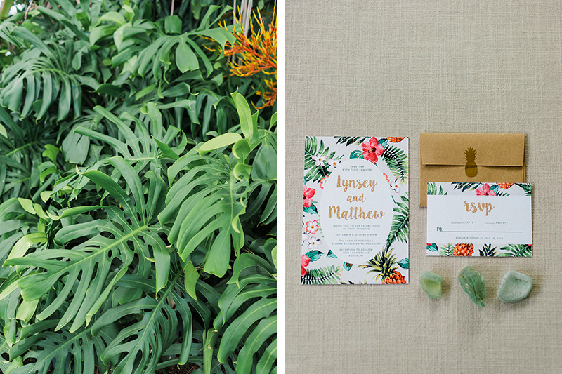 Looking For A Tropical Wedding in Kauai?    We Can Guide You, Every Step of The Way  Monstera Background with Island-Inspired Wedding Invitation