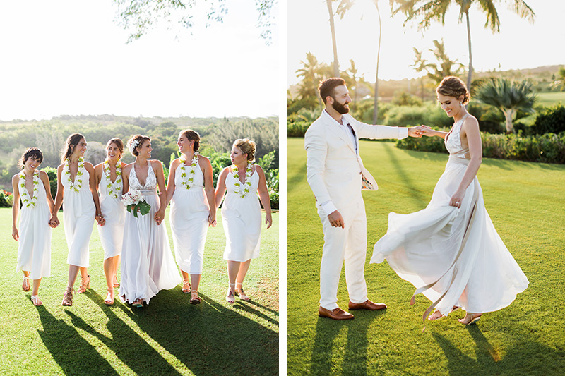 Our Bride Lynsey With Her Bridesmaids Wearing Fresh Orchid Lei.   Our Bride and Groom, Lynsey and Matt Enjoying A Twirl Under the Palm Trees.