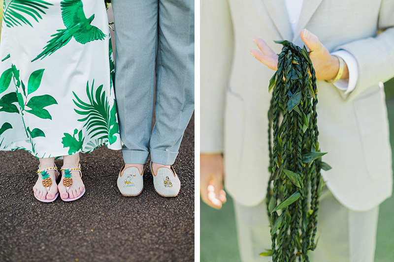 Tropical footwear and ti leaf lei for a Kauai wedding