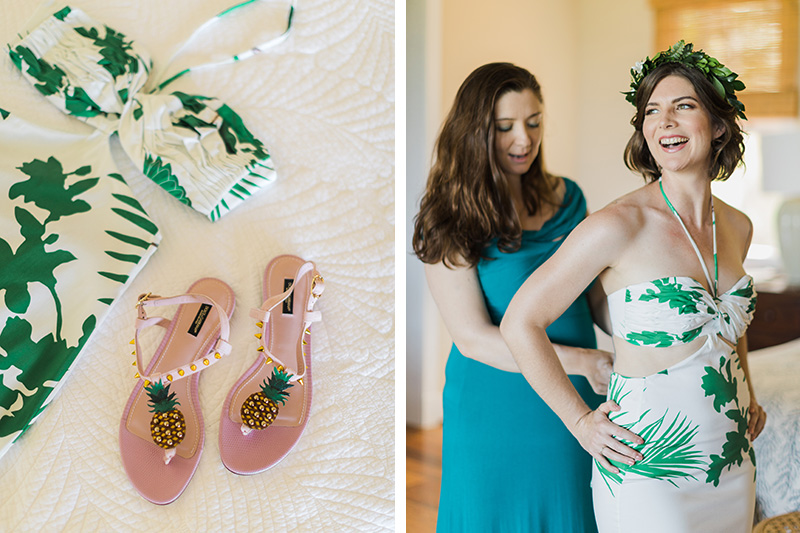 Tropical sandals and a Johanna Ortiz tropical dress for island bride Renee