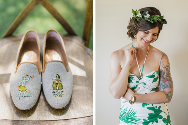 Tropical island wear and head florals for a Kauai wedding