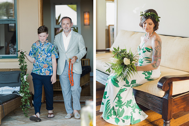 Foraged greenery for flowers, haku and kika lei for a backyard island wedding