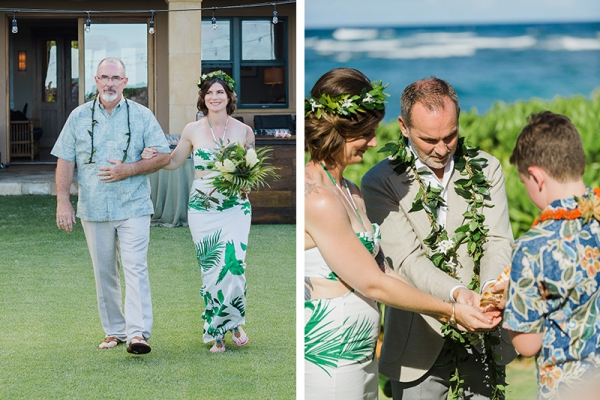 Bride happily walking with her Dad and family participating in hand washing Hawaiian ritual for wedding ceremony