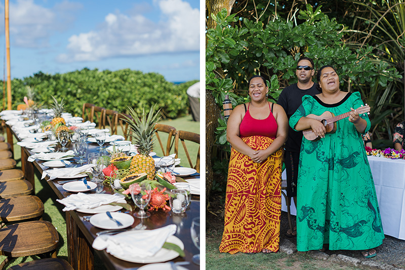 Long dining table adorned with tropical flowers and fruit await guests as Hawaiian Musicians Play
