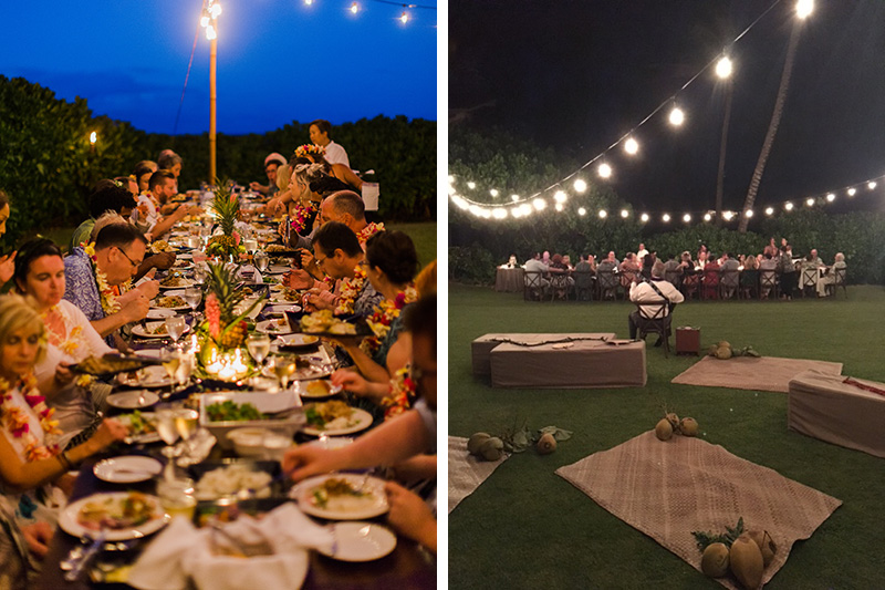 Backyard Hawaiian Wedding Reception Under the Stars and Strings of Bistro Lights