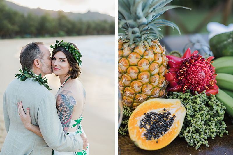 Bride and Groom Kissing on The Beach and Kauai Fresh Fruit Awaits Dinner Guests