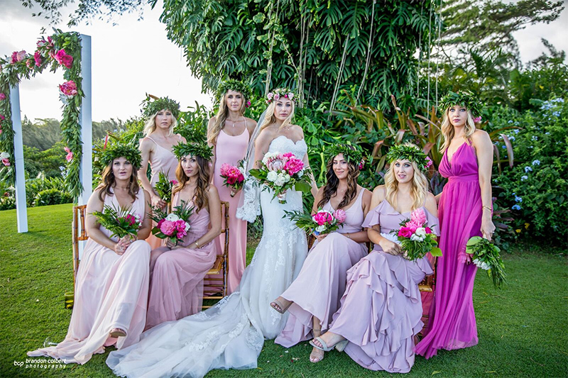 Bridesmaids Don't Always Have to Match!  We Love How They Chose Similar Blush Tones on Individual Dresses Best Suited For Their Wedding Party