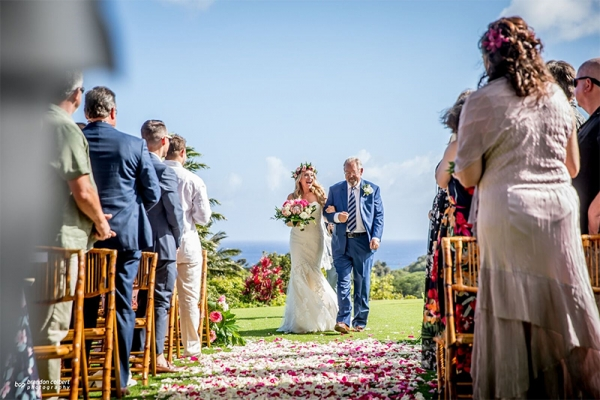 Special Moment As Bride and Dad Enter Aisle of Lush Carpet of Rose Petals