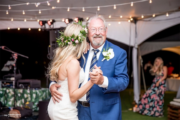 Tender Moment of Father and Daughter Dancing at Wedding Reception