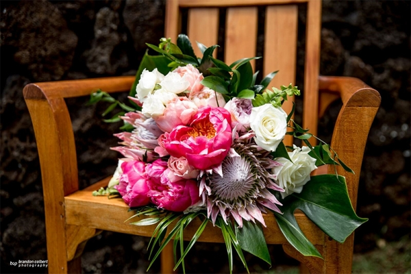 We Love The Color Contrasts and Texture in This Vintage Hawaiian With A Modern Twist Bouquet